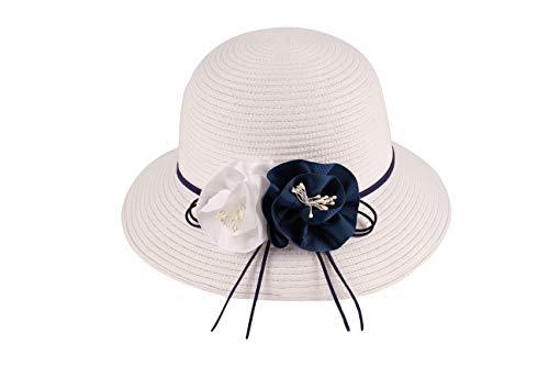 Miuno® Sombrero plegable para mujer, sombrero de fiesta, sombrero de paja con flor, campana H363, Blanco, Talla única