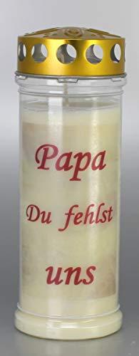 Kerzen Junglas Grablichtkerze, Grabkerze, Papa Du fehlst Uns - 21x7,5 cm - 3878 - ca. 7 Tage Brenndauer – Grablichter mit Spruch - Trauerkerze mit Spruch