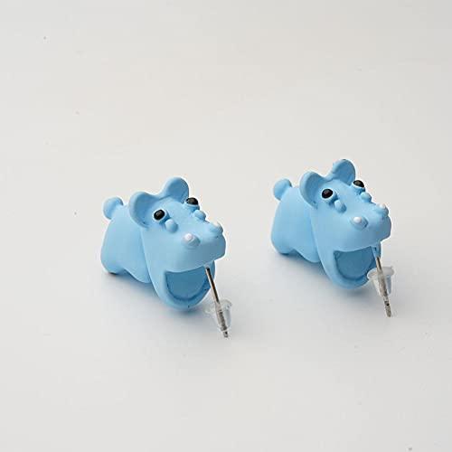 ZEREA Pendientes de animales lindos, pendientes de arcilla 3D, pendientes de mordedura de arcilla polimérica, pendientes simples hechos a mano de polímero de animales para niñas y mujeres (Hippo - D)