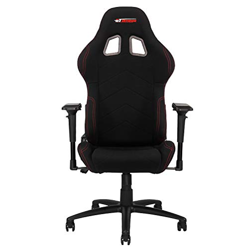 GT OMEGA PRO Stoff Gaming Stuhl mit Lendenwirbelstütze - atmungsaktiv & Ergonomischer Bürostuhl mit 4D verstellbare Armlehne & Liegesessel - Esport Sitz für Gaming Experience - Schwarz