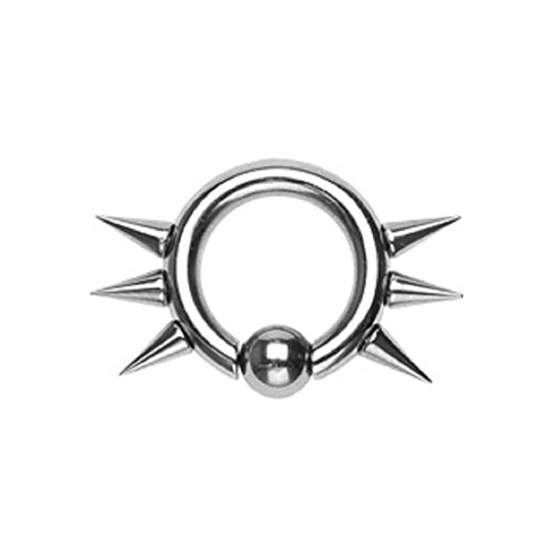 PunkJewelry Piercing Intimpiercing BCR Ring Spikes 3 mm 316L Chirurgenstahl Durchmesser- 12,7 mm