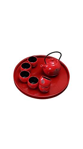 TYZP Tazas de cerámica roja de Estilo Chino Tetera, café, té, 1 Tetera, 6 Tazas + 1 Bandeja, Estilo japonés, para Oficina, hogar, Tetera, Set de Taza de té (Rojo)
