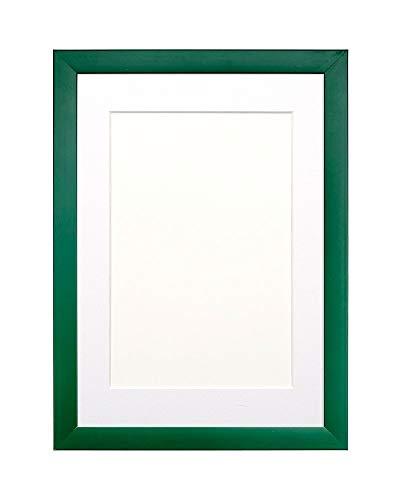 Marco de imagen / foto / póster con rango de color del arco iris con montura de perspex irrompible de estireno de alta claridad- Marco verde con montura blanca- A3 para fotos A4