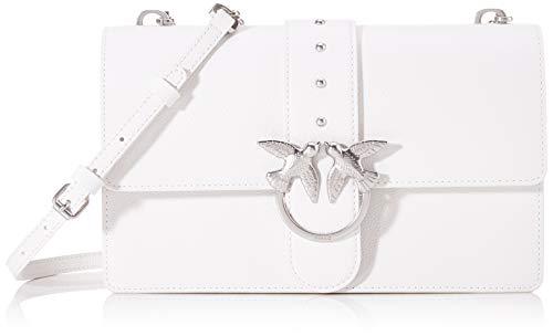 Pinko Love Classic Simply 1 Cl Pelle, Borsa a Tracolla Donna, Bianco (White), 7.5x16.5x27 cm (W x H x L)