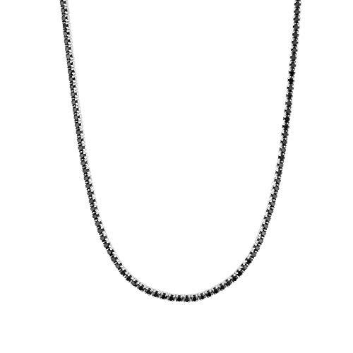 Wnkls 925 Plata esterlina Oro Cadena Larga Cadena Cadena Collar de Gargantilla Roca Punk Cristal joyería de Lujo Fino Roca (Color : Silver Black)