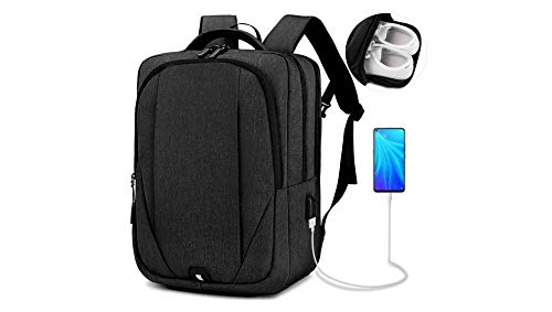 Laptop Rucksack Mens Laptop Backpack 15.6 inch with USB Charging Port College School Travel Rucksack Laptop Bag Water-Resistant Business Daypack for Men Women Black