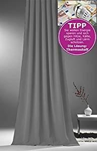 novum fix Gardine, Vorhang für Verdunkelung & Thermoeffekt * Kräuselband * blickdicht und lichtundurchlässig * Lärm dämmend * 140 x 245 cm (Stoffbreite x H) * grau