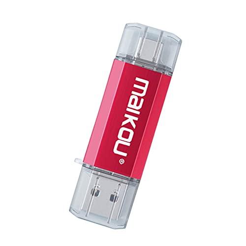 H HILABEE Unidad Flash de 64 GB para teléfono Memoria de Almacenamiento Externo 3 en 1 Unidad Flash para iOS/Tipo-C/Unidad Flash USB USB 3.0 Rojo
