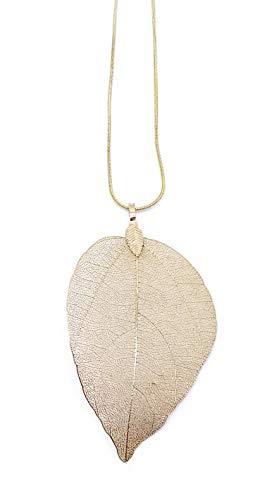 onweerstaanbaar1 Mooie handgemaakte gouden ketting met zeer gedetailleerd natuurblad 7 cm lang met 60 cm gouden ketting