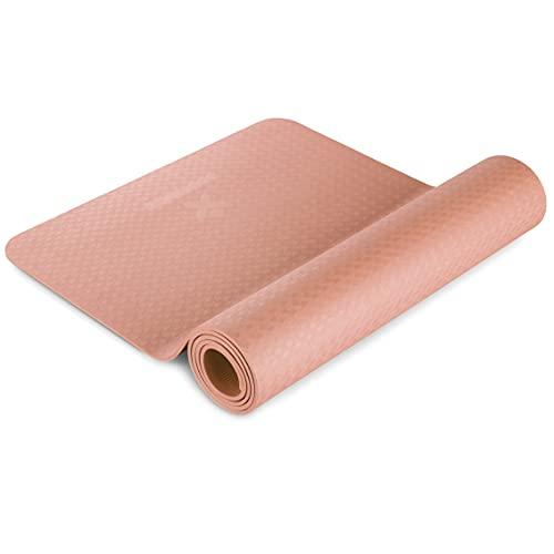 BODYMATE Yogamatte Premium TPE rutschfeste Fitnessmatte, Sportmatte Gymnastikmatte Matte für Fitness, Yoga, Pilates, Sport- Schwarz - Größe 183x61cm – Dicke 6mm Rose-Gold