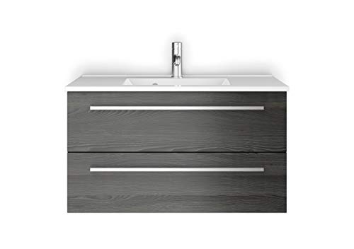 Sieper Waschtischunterschrank Libato - Unterschrank Verschiedene Größen - weiß oder anthrazit Hochglanz - Badmöbel Badezimmermöbel Waschtisch Unterschrank Badmöbel (90, Pinie Dunkel)
