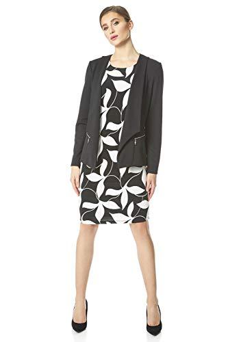 Roman Originals dames getextureerde jas met rits - dames blazer, jas, kraag, eenrijs, nonchalant elegant, kantoor, avonds, een leeve-gesprek, licht materiaal