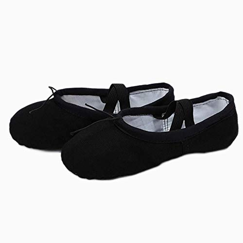 JJZZ Zapatillas Ballet niña Zapatillas de Yoga con Cabeza de Tela para Profesor, Gimnasio, Ejercicio Interior, Lona, Zapatos de Baile de Ballet Negros para niños, niñas y Mujeres