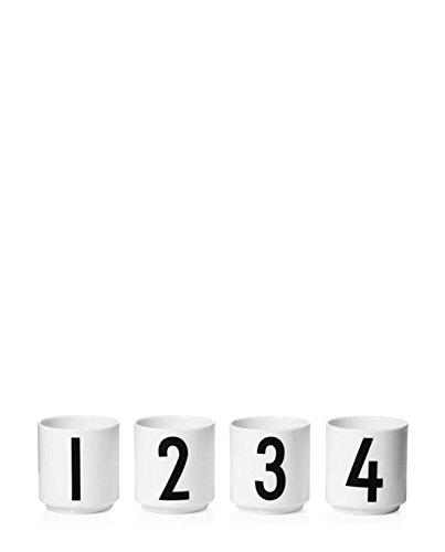 Design letters – espressokopje – 4 TLG. Set - nummers: 1-4 - porselein - Arne Jacobsen