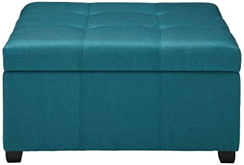 Cushion Top Square Teal Blue Storage Ottoman