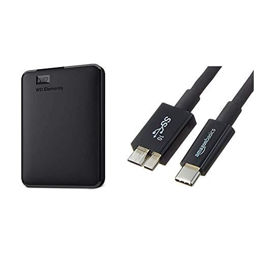 WD Elements - Disco Duro Externo portátil de 1 TB con USB 3.0, Color Negro + AmazonBasics - Cable USB Tipo C a Micro-B 3.1 de 2ª generación - 0,9 m - Negro