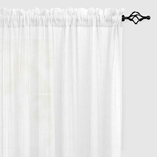 Naturoom Natural Linen Sheer Curtains for Bedroom/Living Room Textured Open Weave Linen Semi Sheer Curtain Drapes Light Filtering, Rod Pocket Window Treatment 2 Panels (54 x 95 Inch, White)