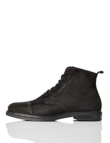 find. Leather Lace Up Botas camperas Hombre, Negro (Black Black), 42 EU