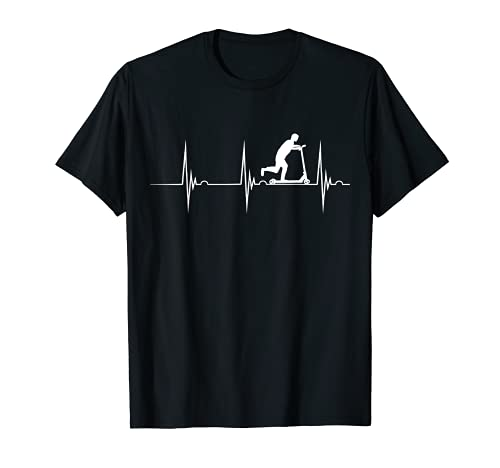 Empuje Scooter Rider Bike Heartbeat EKG Pulse Scootering Camiseta