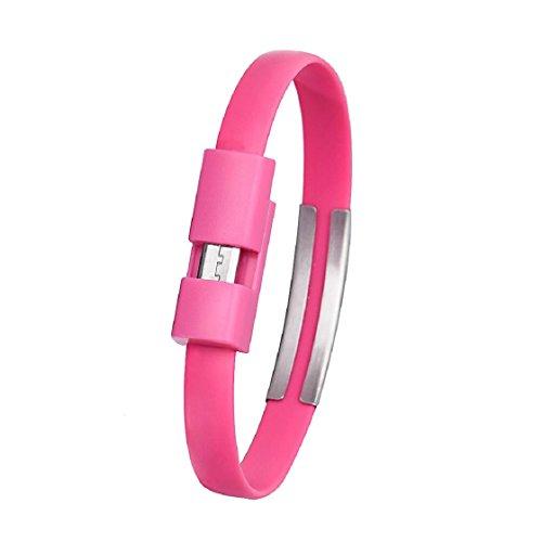 Sannysis® Wristband Micro Caricatore USB Cavo di carico di sincronizzazione di Dati per Android Cell Phone (Rosso Rosato)