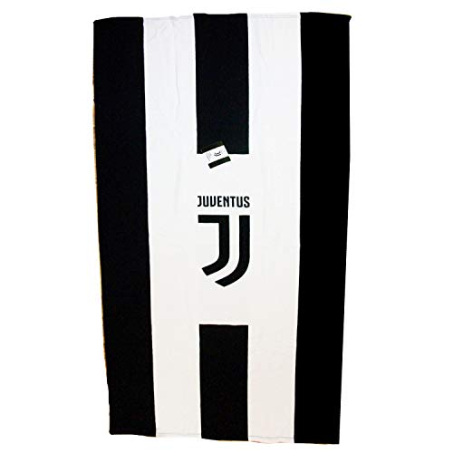 Telo Mare Piscina Ufficiale FC Juventus Morbido Originale Nuovo Modello Juventus Bianco Nero, 90 x 170 cm