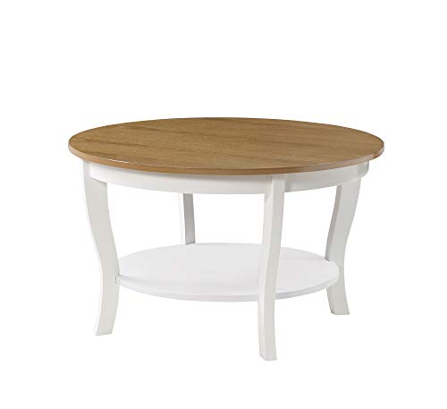 Convenience Concepts American Heritage Round Coffee Table, Driftwood/White