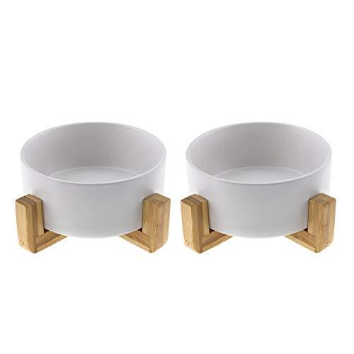 EMSea - 2 comederos de cerámica para perros, gatos y perros, con estante de bambú, color blanco, para cachorros, gatos, mascotas, comederos, regalo, aptos para lavavajillas