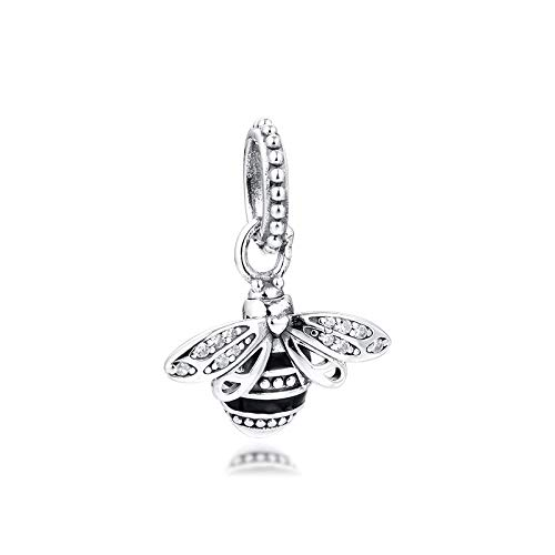 Diy Fits For Original Pandora Bracelets 925 Sterling Silver Fit Pandora Bracelet Beads Sparkling Queen Bee Pendant Charms Women Jewelry Making