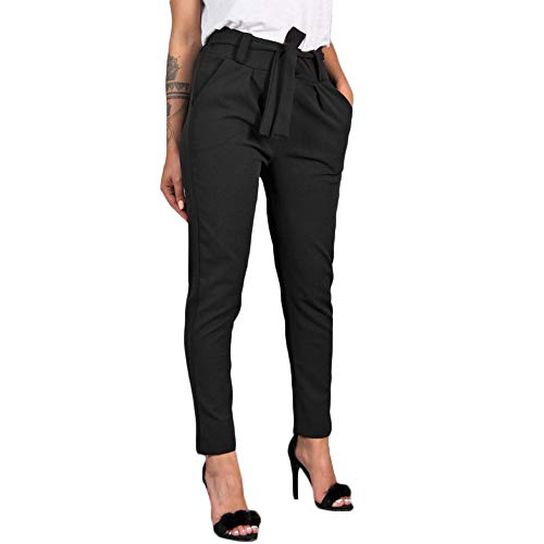RISTHY Mujer Pantalones Largos Ajustados con Cinturón Pantalones Verano Mujeres Cintura Alta Pantalón de Oficina Color Sólido Casual Suave Cómodo