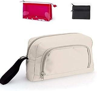 Pack Neceser para Hombre Viaje con 2 Compartimentos + Neceser Transparente para Afeitadora y para Playa o Piscina + Monedero Polipiel