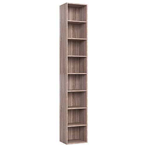 Homfa Scaffale Libreria Altezza Regolabile Mobile Soggiorno in Legno Mobile per Archiviazione 30 × 23.5 × 180 cm Carico 30 kg (Marrone)