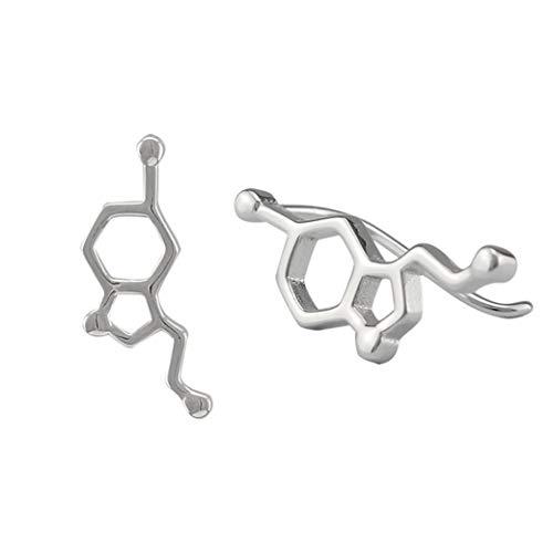 Serebra Jewelry Pendientes de molécula de serotonina, de plata de ley 925, con símbolo de la suerte