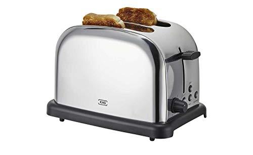 KHG Toaster Edelstahl 2 Scheiben Retro Bräunungskontrolle Aufsatz Farbe edelstahlfarben-Schwarz