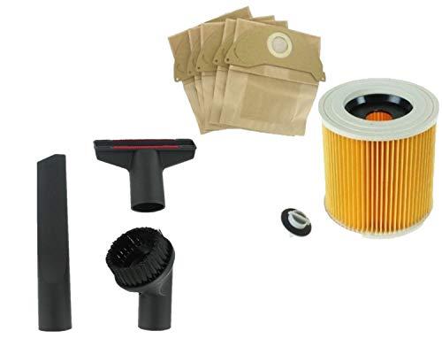 Zoek een Reservegereedschap Kit Nozzles & 5 Papieren Tassen & Cadrige Filter voor Karcher Nat & Droog WD2200 Stofzuigers