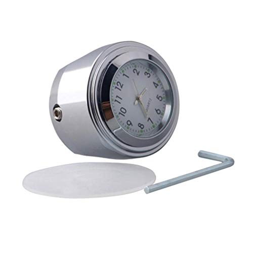H HILABEE Universal Motorrad Lenkeruhr Zifferblatt Uhr für 22mm/ 25mm Lenker, Wasserdicht, Stoßfest - Weiß