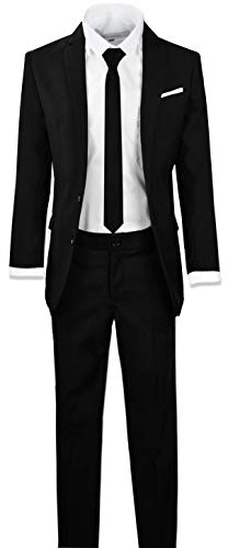 Black n Bianco Signature Boys' Slim Fit Suit in Black Size 16