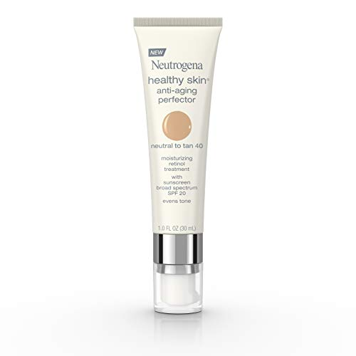 Neutrogena Healthy Skin Anti-Aging Perfector Tinted Facial Moisturizer and Retinol Treatment with Broad Spectrum SPF 20 Sunscreen with Titanium Dioxide, 40 Neutral to Tan, 1 fl. oz