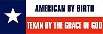 MAGNET American By Birth -TEXAN By Grace of God Magnetic Magnet(texas flag star love) Size: 3 x 9 Inch