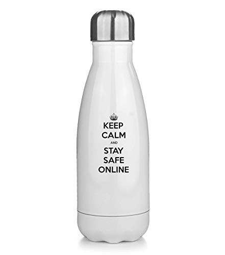 Keep Calm and Stay Safe Online Botella de Agua Termo