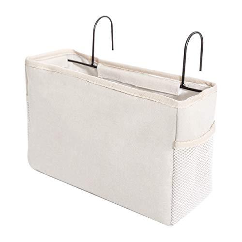 Nati Bett Organizer - Bett Tasche mit Darhthaken, Hängetasche Hochbett Hängeaufbewahrung, Aufbewahrungstasche Hochbett, Hängetasche für Buch Handy Kopfhörer (Weiß)