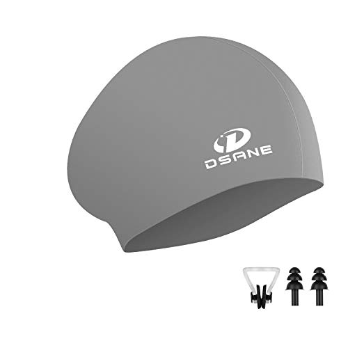 Womens Silicone Swim Cap for Long Hair,3D Ergonomic Design Silicone Swimming Caps for Women Kids Men Adults Boys Girls with Ear Plug and Nose Clip (Gray)