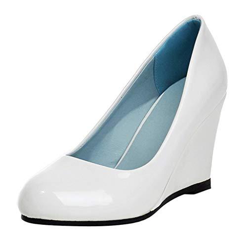 Ln-ZME Frauen Keil Plattform High Heel Mode Lackleder Bequeme Pump Einzelneschuhe Plus Size Party Arbeitsschuhe Kleid Schuhe