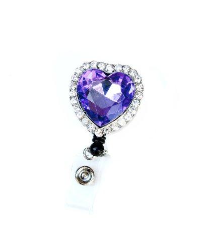 Colorful Diamond Heart Rhinestone Retractable Badge Reel/ID Badge Holder (Purple) Photo #3