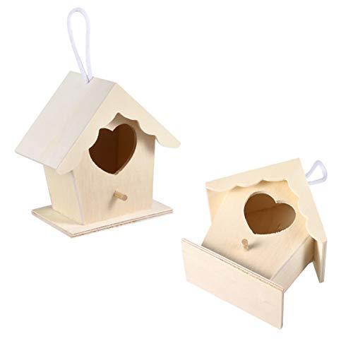 DOITOOL - Nido de madera para pájaros de Navidad, casa de pájaros de madera, para hacer manualidades, casitas de pájaros con porche, para uso de tragaluzas de Wren Finch Sparrow