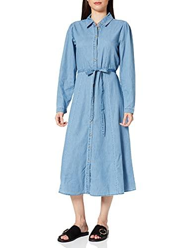 Only ONLNADYA Vol Sleeve LS DNM Dress Vestido, Medio De Mezclilla Azul, L para Mujer
