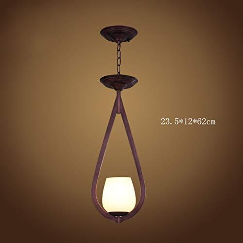 Kroonluchter van ijzer, retro, loft, lang, koffie, woonkamer, restaurant, schat, creatief, windbesparend, E27 (kleur: A)