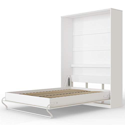 SMARTBett Standard 140x200 Vertikal Weiss Schrankbett | ausklappbares Wandbett, ideal geeignet als Wandklappbett fürs Gästezimmer, Büro, Wohnzimmer, Schlafzimmer