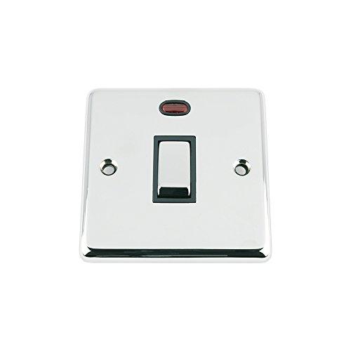 Preisvergleich Produktbild A5 SWI20ACCBC 20 A doppelpoliger Schalter,  klassisch,  Chrom,  poliert,  schwarz,  Einsatz,  Meta,  Wippe,  mit Neon-Indikator
