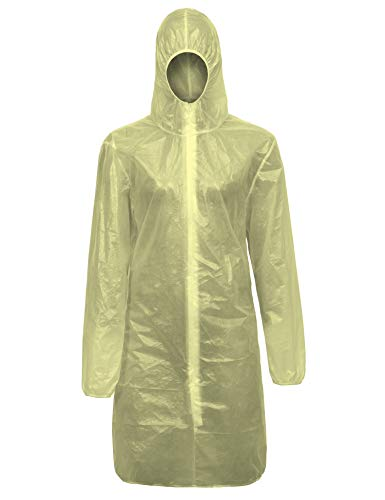 ClyImedical Disposable Lab Gown Hooded Protective Medical Coveralls Suit M Yellow