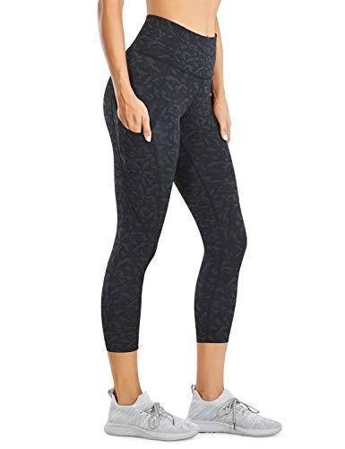 CRZ YOGA Mujer Cintura Alta Leggings Deportivas Fitness Running Pantalones Capri con Bolsillos -48cm Leopard Multi 2 38